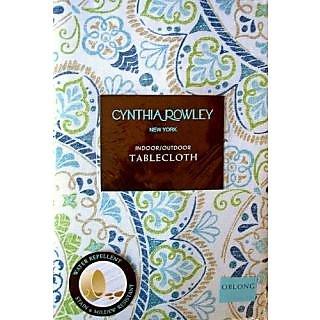 io-P70r Cynthia Rowley Blue Medallion Indoor Outdoor Tablecloth 70