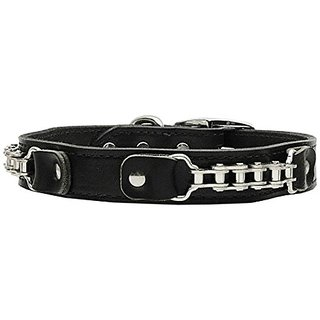 Mirage Pet Products Bike Chain Leather Black Dog Collar, 24