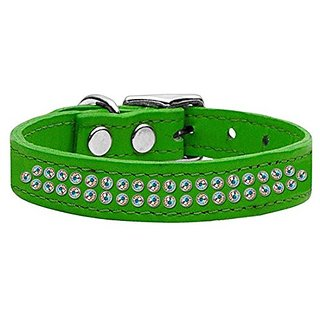 Mirage Pet Products Two Row Aurora Borealis Jeweled Leather Emerald Dog Collar, 20