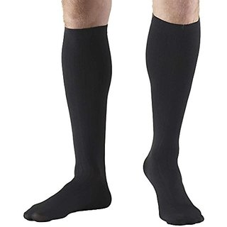 Truform 1942, Mens Dress Style Compression Socks, Over-the-Calf Length, 8-15 mmHg, Black, Medium