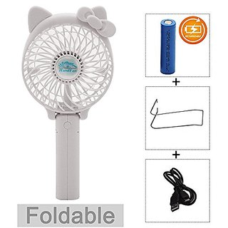 Portable USB Mini Cooling Fan with Metal Clip for Home Office Outdoor (Rechargeable,Handheld,Hello Kitty Style (white)