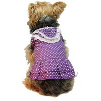 Anima Purple Polka Dotted Dress With White Lace, X-Small