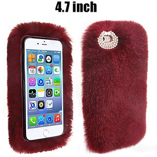 IPhone 6 Case, Veatool Luxury Stylish Fluffy Bling Rex Rabbit Fur Handmade Decorative Cover Case for iPhone 6s (4.7 inch
