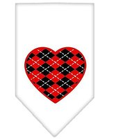 Mirage Pet Products Argyle Heart Red Screen Print Bandana For Pets, Small, White