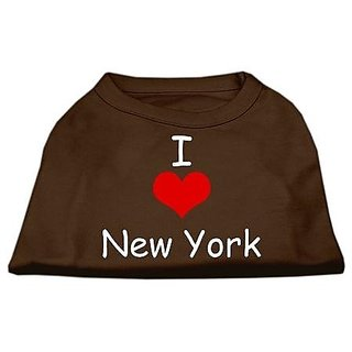 Mirage Pet Products 14-Inch I Love New York Screen Print Shirts For Pets, Large, Brown