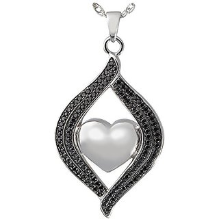 Memorial Gallery 3320bs Teardrop Ribbon Heart Midnight Stones Sterling Silver Cremation Pet Jewelry