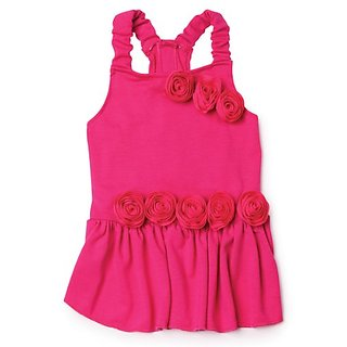 East Side Collection Polyester Spring Fling Dog Dress, X-Small, 10-Inch, Raspberry