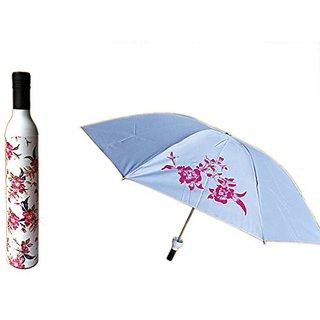 Riverer Creative Style Folding Bottle Rain Umbrella, Lilies