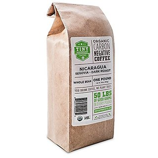 Tiny Footprint Coffee Organic Fair Trade Nicaragua Segovia Dark Roast Whole Bean, 1 Pound