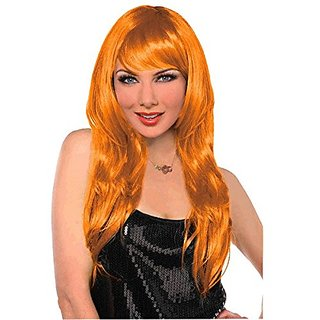 Amscan Party Perfect Team Spirit Glam Long Wig (1 Piece), Orange, 11.25 x 8