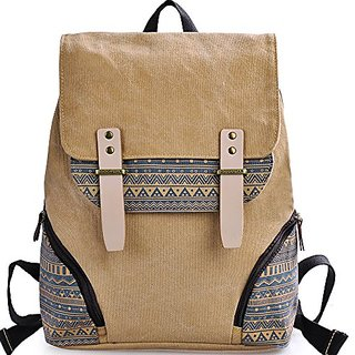 DGY Girls Preppy Style Canvas Backpack for College Casual Travel Back Packs G00126 Khaki