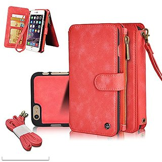 iPhone 6S Case ,CORNMI Multi Functional Leather Handbag Zipper Pocket Flip Leather Wallet Case with 14 Crad Slot and Wri