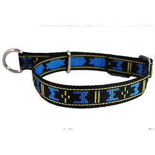 Adjustable Nylon Martingale Dog Collar Semi-Choker 1.25