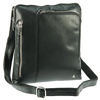 Visconti ML22 Messenger Bag / Shoulder Crossbody Bag / Slim Handbag perfect for IPad, Tablet Buffalo Leather (Black)