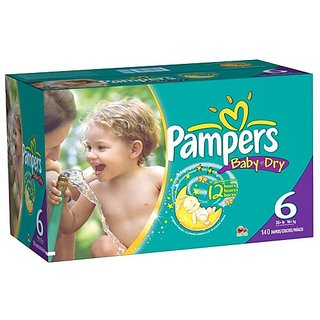 Pampers Baby Dry Diapers Size 6 Economy Pack Plus, 140 Count