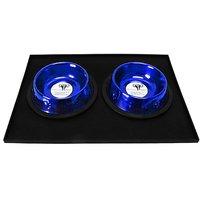 Platinum Pets 3 Cup Embossed Non-Tip Stainless Steel Dog Bowls With Black Feeding Mat, Sapphire Blue