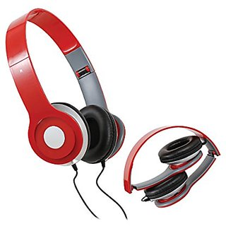 Jamsonic Red HD Pro+ Foldable Solo DJ Style On Ear Headphone Headset Earphones For iPhone, iPod, iPad, Andoird, MP3, PC,