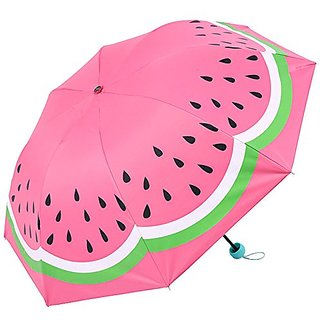 UNI Cute Pink Girls UV Blocker Windproof Watermelon Parasol Dome Umbrella