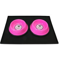 Platinum Pets 4 Cup Embossed Non-Tip Stainless Steel Dog Bowls With Black Feeding Mat, Bubblegum Pink