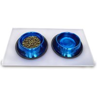 Platinum Pets 4 Cup Embossed Non-Tip Stainless Steel Dog Bowls With Clear Feeding Mat, Sapphire Blue