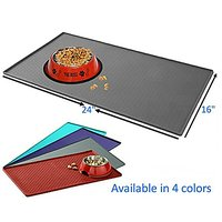 """Mr. Peanuts Large Pet Food Mat, Premium FDA Food Grade Silicone, BPA Free, 24"""" X 16"""" Flexible And Easy To Clean Feeding"""