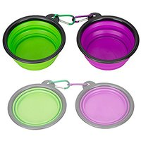 Collapsible Silicone Pet Bowl,set Of 2, IDEGG , Food Grade Silicone BPA Free, Foldable Expandable Cup Dish For Pet Dog/C