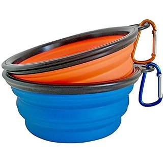 Colorful House Foldable Travel Dog Bowl Set Silicone Pet Dish Set of 2 ( Blue, Orange)