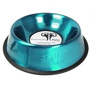 Platinum Pets 6.25 Cup Embossed Non-Tip Stainless Steel Dog Bowl, Caribbean Teal