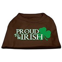 Mirage Pet Products 10-Inch Proud To Be Irish Screen Print Shirt For Pets, Small, Brown