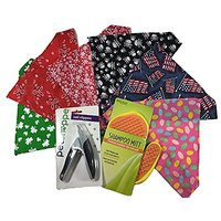 Pet Shoppe Nail Clippers, Rinse Ace Shampoo Mitt, 6 Holiday Bandanas For Large Dog- Great Pet - Dog Lover Gift, New Pet