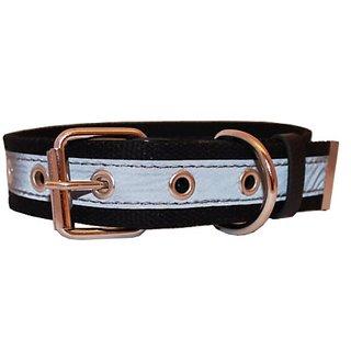 Cotton Web/Leather Reflective Dog Collar 24