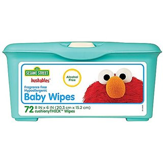Sesame Street Hushables Fragrance Free Hypoallergenic Alcohol Free Unscented Baby Wipes, 72-Count