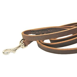 Dean and Tyler No Nonsense Leather Leash, Brown 2-Feet by 1/2-Inch Width With Stainless Steel Hardware.