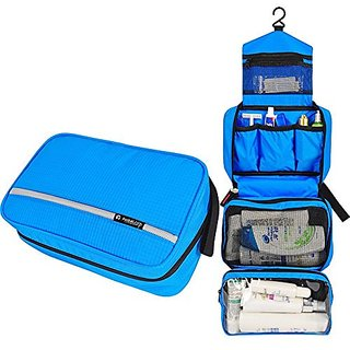 CYBERNOVA Waterproof Compact hanging cosmetic Toiletry travel bags Cosmetic Pouch Personal care Hygiene Purse (blue)