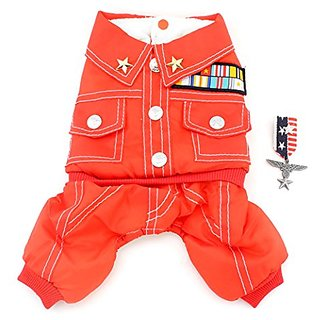 SMALLLEE_LUCKY_STORE Small Cat Dog 4-Legged Military Coat Fleece Lined Winter Jumpsuits, Small, Red