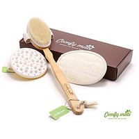 ComfyMate Bath Body Brush Set Includes 1 Anti Cellulite Massager & Remover For Losing Belly Fat,1 Natural Bamboo Boar Br
