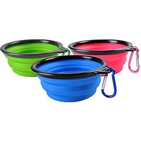 D-Mcark Retractable Hanging Silicone Travel Dog Bowl Portable Collapsible Feeding Bowl For Cat Dog Set Of 3