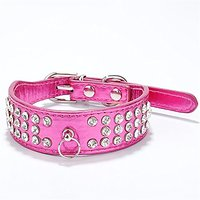 Puppy-league Pu Leather 3 Rows Rhinestone Studded Ring Decorative Dog Collars Chain For Pet Dogs Chihuahua (Rose Red, S