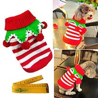 Christmas Turtleneck Knitted Pet Dog Cat Sweater Knitwear Outerwear With Collar And Balls For Dogs & Cats (Red & White S