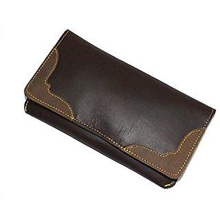 Unisex Retro Wallet Crazy Horse Leather Purse Passport Card Holder Clutch Rustic (Brown)
