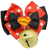 Quno Adjustable Bow Tie Pet Dog Cat Buckle Necklace Bell Leash Collar Accessory Red And Black XL