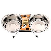 GoGo Pet Products Stainless Steel Double Diner Dog Bowl, 3-Quart