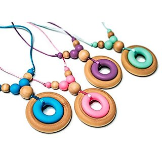 JellieMaples Silicone & Maple Hardwood Organic Nursing Necklace Classic Collection Teething Necklace In Blueberry
