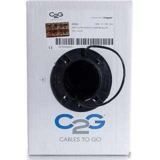 C2G Cables to Go Cat5e Bulk Unshielded, UTP Ethernet Network Cable - Riser CMR-Rated, Black, 500 (56024)