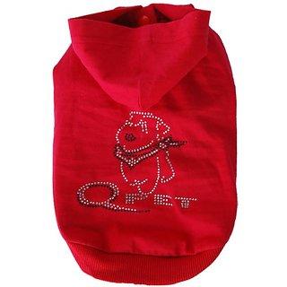 Anima Red Short Sleeve Poly Cotton Hoodie with Rhinestone Logo, XX-Small