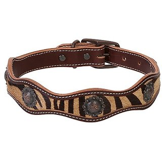 Weaver Leather Scalloped Collar with Zebra Inlay, 1 x 19-Inch, Brown
