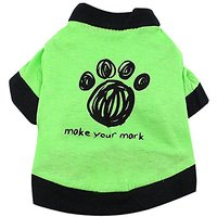 Smalllee_lucky_store Dog Paw Shirt For Small Dogs, Medium, Green