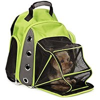 Lovely Summer Mesh Multiple Deluxe Dog Carrier Travel Backpack Double Shoulders Straps Bag For Small Pet Puppy Cat Green