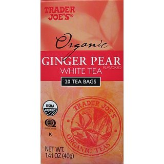 Trader Joes Organic Ginger Pear White Tea, 20 Tea Bags (Pack of 2)