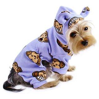 Adorable Silly Monkey Fleece Dog Pajamas / Bodysuit with Hood Color: Lavender, Size: Medium